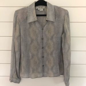 Carlisle Silk Snake Skin Print Button Up Blouse